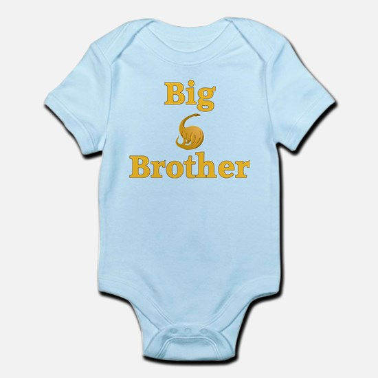 Big Brother Yellow Dinosaur Infant Bodysuit