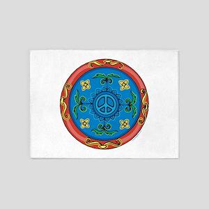Medallion Peace Sign, Symbol 5'x7'Area Rug