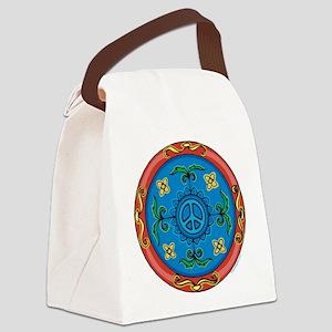 Medallion Peace Sign, Symbol Canvas Lunch Bag