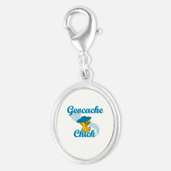 Geocache Chick #3 Silver Oval Charm