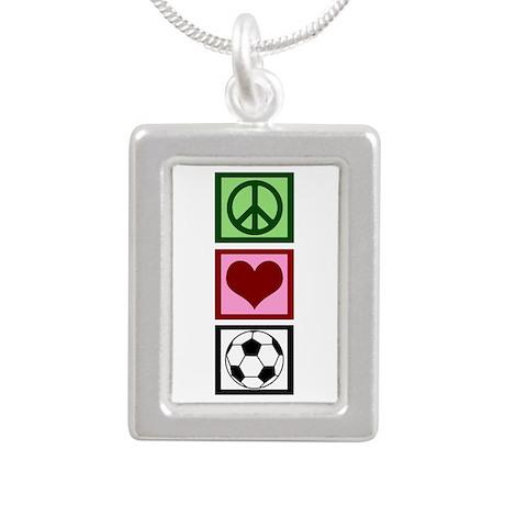 Peace Love Soccer Silver Portrait Necklace