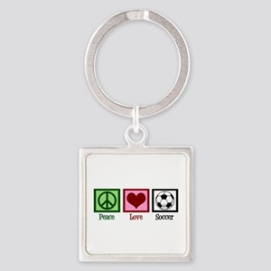 Peace Love Soccer Square Keychain