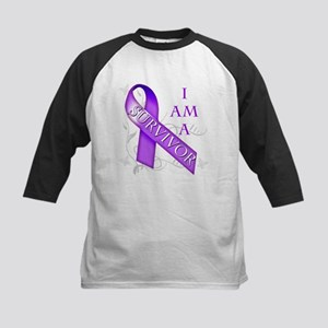 I Am a Survivor (purple) Kids Baseball Jersey