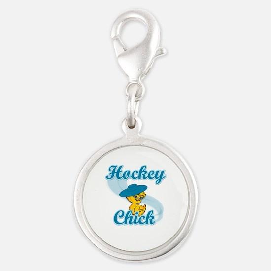 Hockey Chick #3 Silver Round Charm