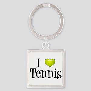 I Heart Tennis Square Keychain