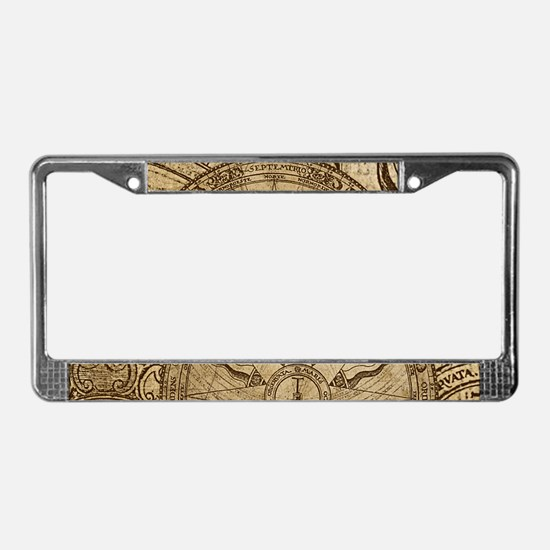 Vintage Compass Rose Collage License Plate Frame