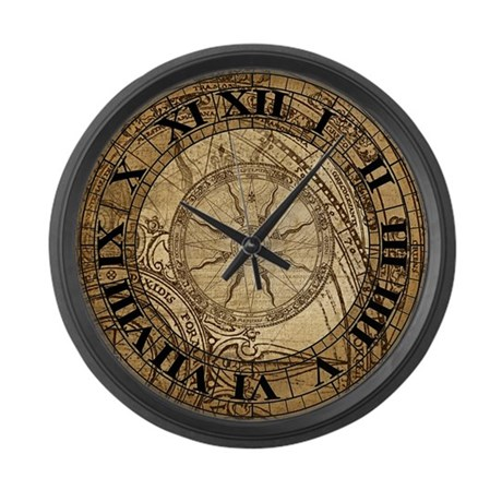 Vintage Compass Rose Collage Large Wall Clock By