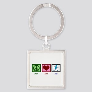 Peace Love Run Square Keychain