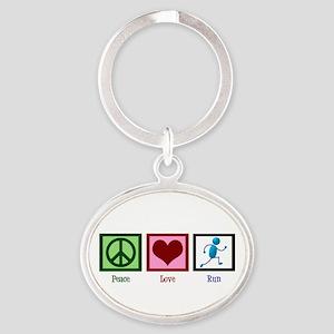 Peace Love Run Oval Keychain