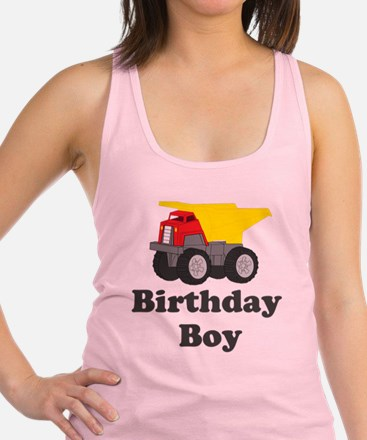 Dump Truck Birthday Boy Racerback Tank Top