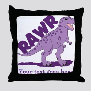 Personalized Purple Dinosaur RAWR Throw Pillow