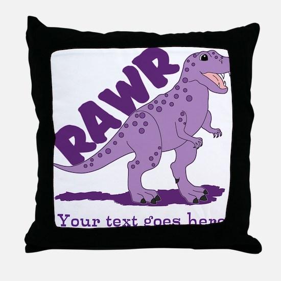 Personalized Purple Dinosaur RAWR Throw Pillow