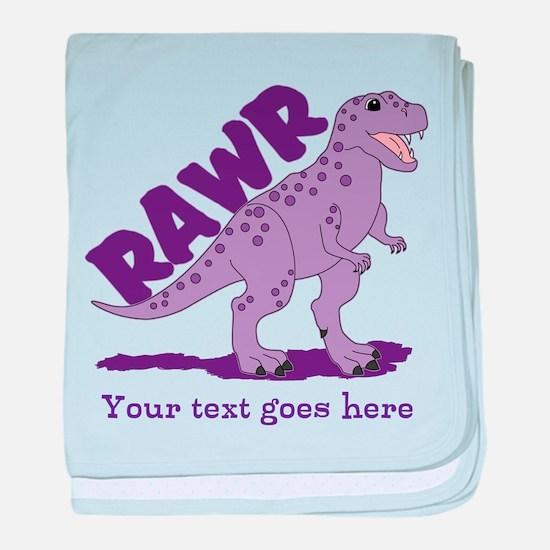Personalized Purple Dinosaur RAWR baby blanket