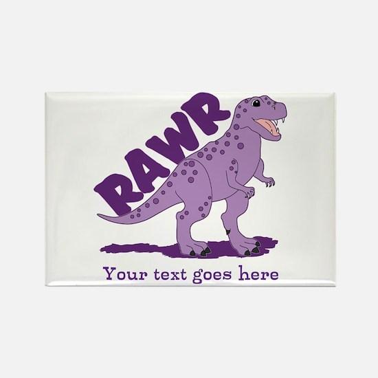 Personalized Purple Dinosaur RAWR Rectangle Magnet