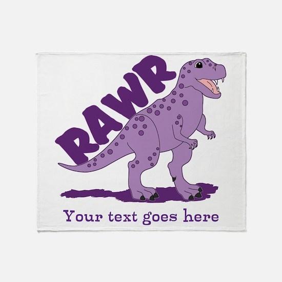 Personalized Purple Dinosaur RAWR Throw Blanket