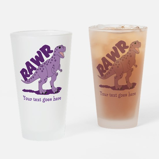 Personalized Purple Dinosaur RAWR Drinking Glass