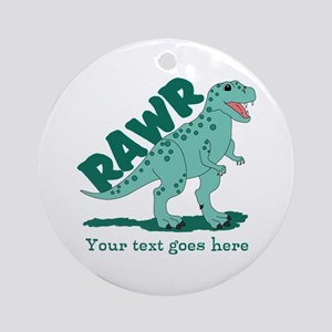 Personalized Green Dinosaur RAWR Ornament (Round)