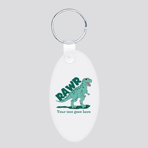 Personalized Green Dinosaur RAWR Aluminum Oval Key
