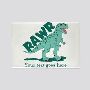 Personalized Green Dinosaur RAWR Rectangle Magnet