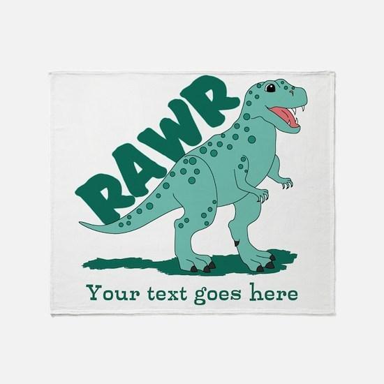 Personalized Green Dinosaur RAWR Throw Blanket