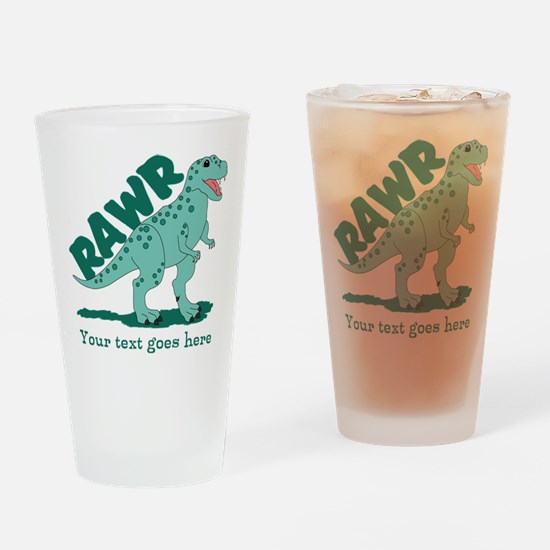 Personalized Green Dinosaur RAWR Drinking Glass