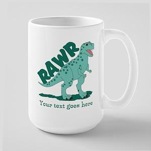 Personalized Green Dinosaur RAWR Large Mug