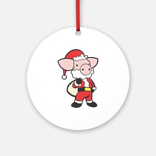 Santa Piggy Ornament (Round)
