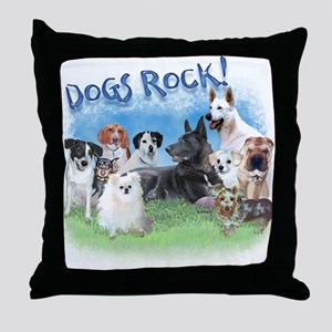 Dogs Rock Throw Pillow
