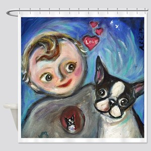 Boston Terrier baby love Shower Curtain