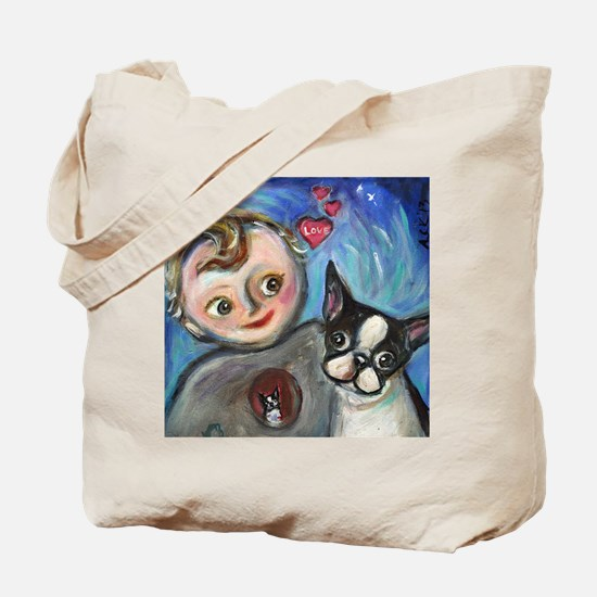 Boston Terrier baby love Tote Bag