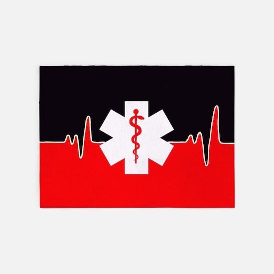 Red Emergency Medical 5'x7'area Rug