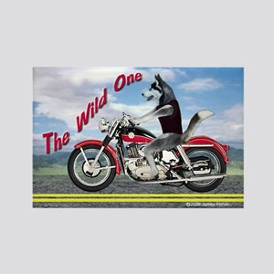 Siberian Husky The Wild One Motorcycle Magnet