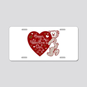 Valentines Day Bear Aluminum License Plate