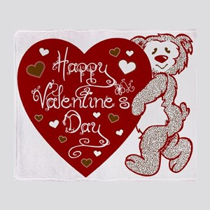 Valentines Day Bear Throw Blanket