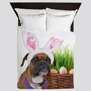 Easter Boxer Dog Queen Duvet