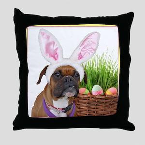 Easter Boxer Dog Throw Pillow