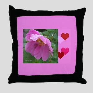 Alaska Wild Rose Throw Pillow