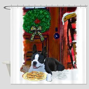 Boston Terrier Christmas Shower Curtain