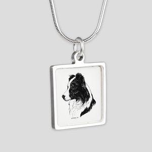 Border Collie Silver Square Necklace