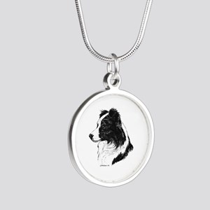 Border Collie Silver Round Necklace