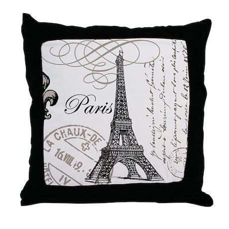 Vintage Paris Eiffel Tower Throw Pillow