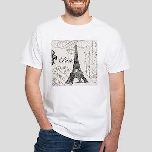 Vintage Paris Eiffel Tower White T-Shirt