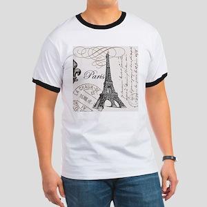Vintage Paris Eiffel Tower Ringer T