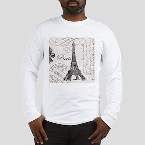 Vintage Paris Eiffel Tower Long Sleeve T-Shirt