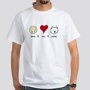 Peace Love Westies White T-Shirt