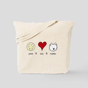 Peace Love Westies Tote Bag