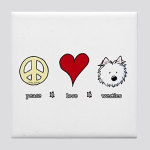 Peace Love Westies Tile Coaster