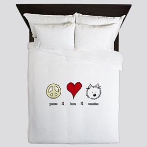 Peace Love Westies Queen Duvet
