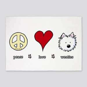 Peace Love Westies 5'x7'Area Rug