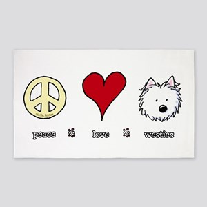 Peace Love Westies 3'x5' Area Rug